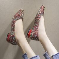 3-5厘米高跟鞋水钻婚鞋性感新娘鞋尖头单鞋气质宴会潮粗跟3cm 红色3cm 标准码