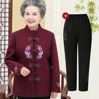 老年女装春秋装奶奶毛呢外套短款60-80老人衣服老太太冬呢子上衣 XL 建议95斤以内