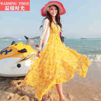 温暖时光 波西米亚夏雪纺度假沙滩裙长裙v领拖地长裙子吊带连衣裙