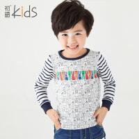 初语童装 冬季新款 男童 条纹长袖卡通可爱圆T恤 T5301110101