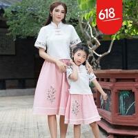 复古中国风亲子母女装棉麻女童套装旗袍唐装汉服儿童国学园服装夏GH7001