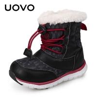 【618大促-每满100减50】UOVO冬季新款小童鞋 时尚保暖宝宝雪地棉靴中筒儿童靴子男童加绒靴子 丹尼尔