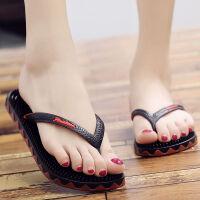 人字拖女夏外穿防滑平底简约韩版学生时尚塑胶软底按摩夹脚凉拖鞋 黑色(女) 建议拍大2码