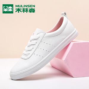 木林森女鞋2018秋季新款甜美单鞋时尚百搭小白鞋女学生板鞋低帮潮鞋