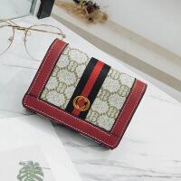 印花女士钱包2018新款欧美短款折叠钱夹百搭复古手拿包零钱包现货