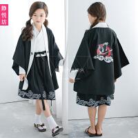儿童演出服童装表演舞蹈和服cos和风日本武士服装羽织浴衣连衣裙 童装款: 连衣裙+腰带