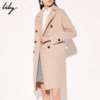 【开学季到手价:639元】 Lily春秋新款女装浅粉撞色双排扣中长款羊毛大衣毛呢外套1E50