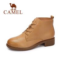 camel/骆驼女鞋 2017秋冬新品 羊皮简约英伦风雕花复古圆头方跟短靴