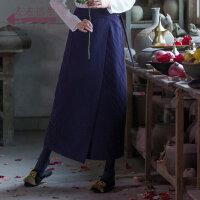 生活在左2018秋冬新款棉绣花半身裙长裙文艺纯色直筒裙过膝女