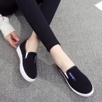 懒人鞋女帆布鞋一脚蹬老北京新款平底黑色休闲学生单鞋女布鞋