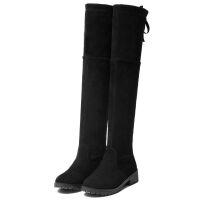 长筒女靴过膝靴新款冬款百搭女生平跟高筒弹力靴【内加绒】 黑色 标准码 36
