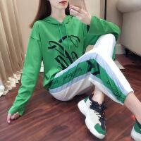 【整套】运动套装女休闲秋冬2019时尚显瘦韩版长裤两件套女 9007绿色长袖套装 9023