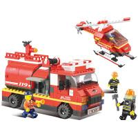 小鲁班消防系列 创意积木消防先锋队模型6岁男孩益智拼装汽车玩具