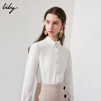 LILY春新款女装商务通勤单排扣收身长袖衬衫118430C4603