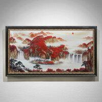 新中式油画手绘客厅装饰画鸿运当头山水风景画挂画办公室美式画 160*280 单幅