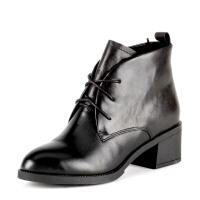 Fondberyl/菲伯丽尔 冬牛皮圆头系带粗高跟短靴女鞋FB54115427