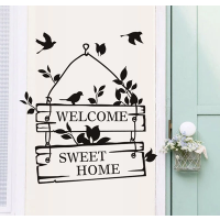 可移除墙贴纸温馨门牌贴画 橱窗房门贴sweethome欢迎光临welcome