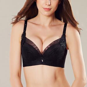 依曼丽女士深V性感聚拢文胸 集中调整型刺绣收副乳内衣4214