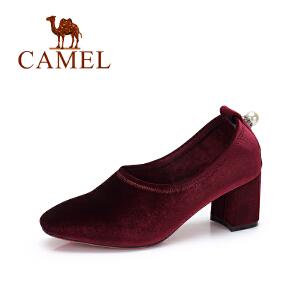 Camel/骆驼女鞋 秋季新款 优雅绒面粗跟单鞋女 通勤高跟女鞋