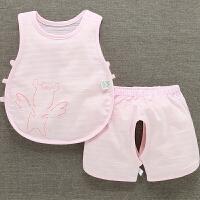 婴儿琵琶衣宝宝背心套装无袖幼儿纯棉夏季薄空调服睡衣开裆两件套