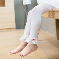 夏儿童蕾丝花边打底裤 薄款女童白色九分裤 宝宝天鹅绒舞蹈袜裤