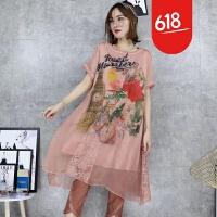 欧洲站2018夏季新款女装天丝麻复古玫瑰印花双层不规则下摆连衣裙GH07701