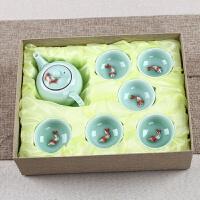 茶具套装青瓷功夫茶具整套杯礼盒装公司LOGO定制礼品 七件套茶壶礼盒装(盏杯)