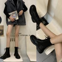 靴子女2019秋款韩版短靴女粗跟中跟英伦马丁靴时尚短靴女春秋单靴 黑色