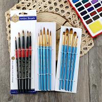 尼龙水彩画笔丙烯水粉画笔套装圆尖头颜料勾线笔手绘学生用排笔