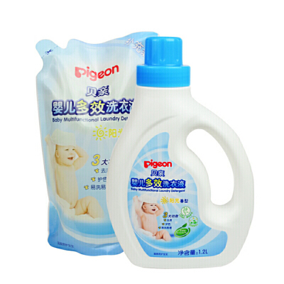 贝亲—婴儿多效洗衣液促销装(阳光香型)1.2L+1L