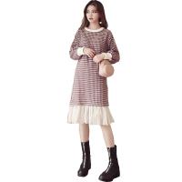 胖mm大码女装2018秋冬新款洋气连衣裙子心机网红两件套装长裙显瘦