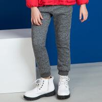 【3.5折价:153.65元】暇步士童装女童长裤冬装新款加绒裤子儿童中大童双层运动裤