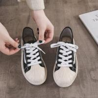 2019季新款帆布鞋女学生夏季渔夫鞋百搭韩版小白平底女鞋子单鞋