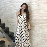 2019夏季网红吊带裙子女士长款荷叶边夏天波点仙女裙雪纺长裙 白色 S 80到100斤