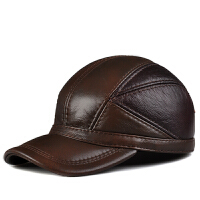 男士帽秋冬季真皮休闲护耳棒球帽户外鸭舌帽子