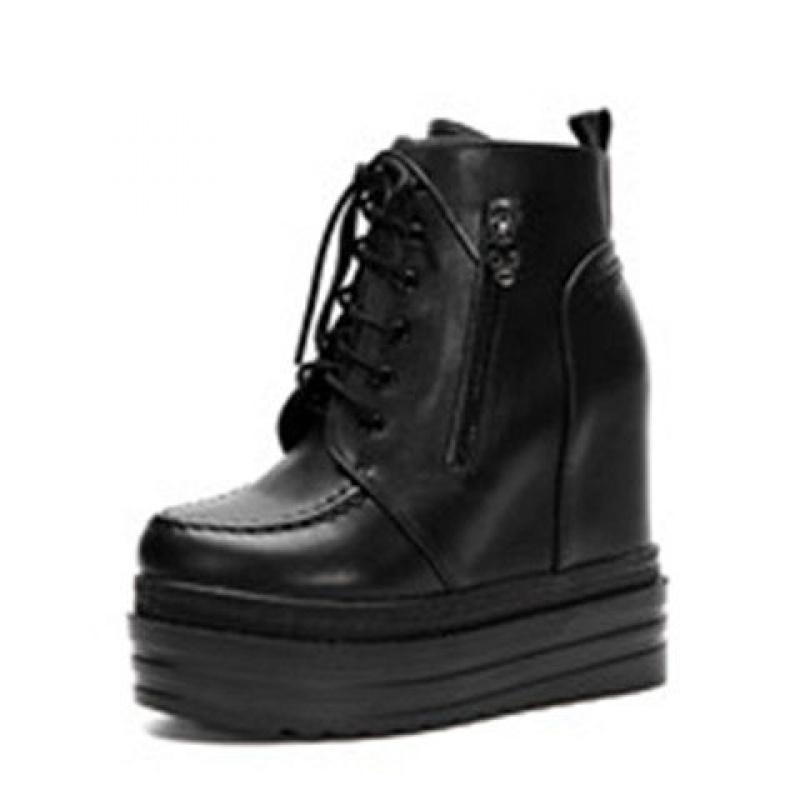 秋冬女靴子内增高坡跟短靴加绒系带马丁靴韩版松糕厚底超高跟女鞋