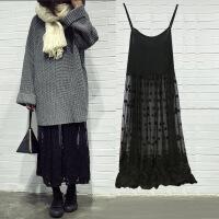 韩版秋冬内搭高腰修身中长款刺绣蕾丝吊带打底裙大码背心连衣裙女