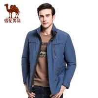 骆驼男装 冬季新款男士时尚中长款立领商务休闲棉服外套棉衣男