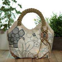 新款手提包女包布包民族风包包文艺小手提包手工编织手提包手拎包 米色 米色