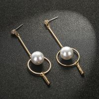 新款珍珠流苏耳环女长款时尚圆圈耳坠气质耳钉潮款