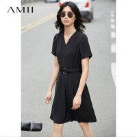 【满200减100上不封顶】Amii[极简主义]2018夏直筒V领短袖套头中长连衣裙