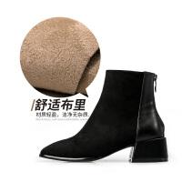 妙侣方跟简约短靴女2018秋冬新款复古中跟后拉链单靴子圆头及踝靴 黑色 单里