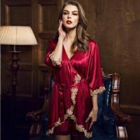 红色春夏季新款仿真丝两件套睡袍女士性感吊带欧美家居服 三色可选