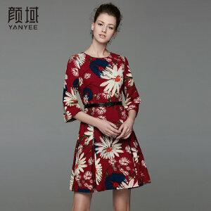 颜域品牌女装2017夏季新款复古印花中袖收腰工字褶A摆中款连衣裙