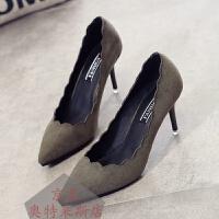 绒面高跟鞋细跟尖头鞋时尚花边单鞋女浅口简约黑色OL通勤职业风优雅气质百搭花边套脚工作高跟鞋
