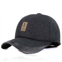 男士中年棒球帽冬季帽子男式鸭舌帽毛呢护耳老头帽厚