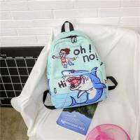 格子搞怪涂鸦双肩包女韩版ulzzang中学生书包女校园印花休闲背包 鲨鱼 礼物