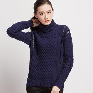 女装新款潮棉质粗线高领毛衣套头绑带 加厚针织衫麻花上衣