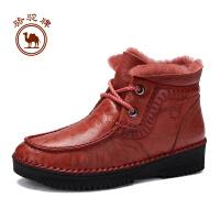 【每满100减50】骆驼牌女靴子 冬季舒适手工缝制女鞋耐磨加绒保暖休闲女靴