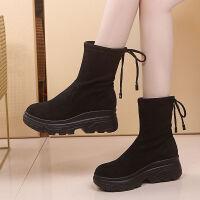 马丁靴女短筒靴子秋冬加绒2019新款网红瘦瘦靴厚底短靴单靴袜子靴 黑色 加绒